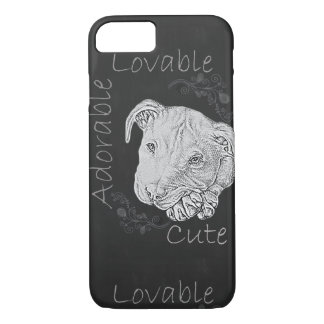Chalk Drawing of Pitbull on Phone Case