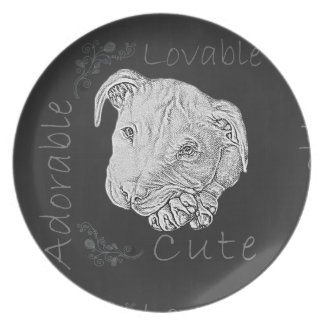 Chalk Drawing of Pitbull Party Plate