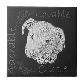 Chalk Drawing of Pitbull Ceramic Tiles