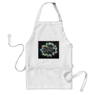 Chalk Drawn Merry and Bright with Lights Standard Apron