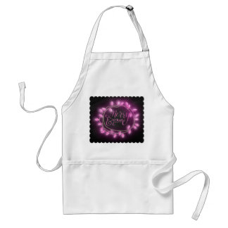 Chalk Drawn Pink Merry and Bright with Lights Standard Apron