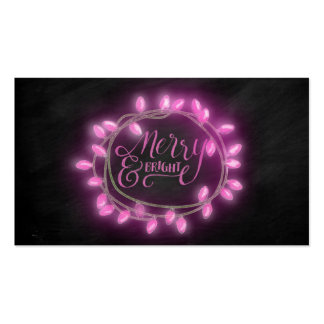 Chalk Drawn Pink Merry and Bright with Lights Pack Of Standard Business Cards