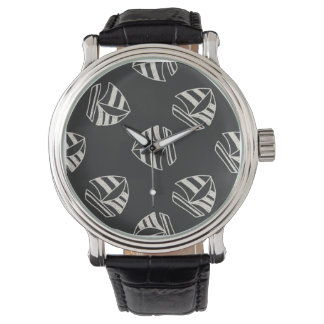 Chalk Drawn Sailboat Pattern Wrist Watch