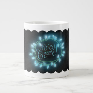 Chalk Drawn Turquoise Merry and Bright with Lights Jumbo Mug