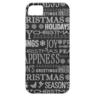 Chalk Drown Christmas Greeting In Black And White Barely There iPhone 5 Case