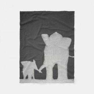Chalk Elephant Family Fleece Blanket