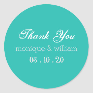 Chalk Flourish Teal Rustic Wedding Thank You Round Sticker