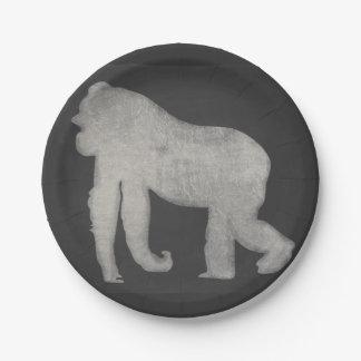 Chalk Gorilla Paper Plate