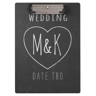 Chalk Heart Monogram Chalkboard Wedding Clipboard