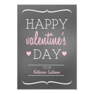 Chalk Inspired Kids School / Classroom Valentine 9 Cm X 13 Cm Invitation Card