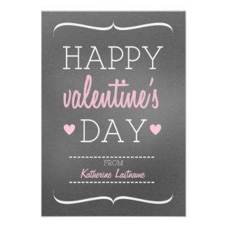 Chalk Inspired Kids School Classroom Valentine Custom Announcements