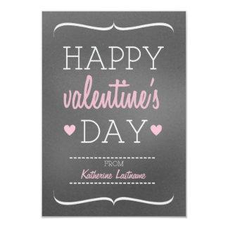 "Chalk Inspired Kids School / Classroom Valentine 3.5"" X 5"" Invitation Card"