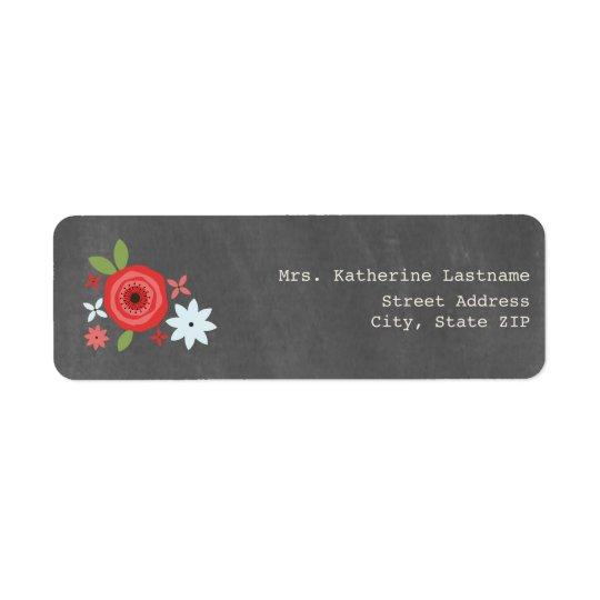 Chalk Inspired Red & Blue Floral Return Address Label