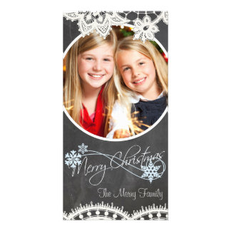 Chalk Lace Xmas Card with Your Photo Photo Greeting Card