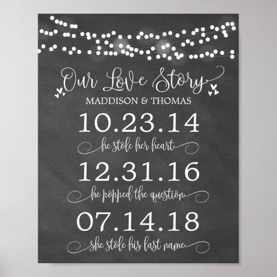 3b0381f10 Chalk Lights Our Love Story Timeline Wedding Decor   Zazzle.co.uk