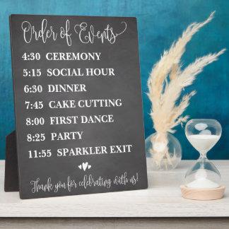 Chalk Order of Events Wedding Schedule Sign Plaque