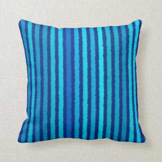 Chalk Stripes - Cobalt and Sky Blue Throw Pillow