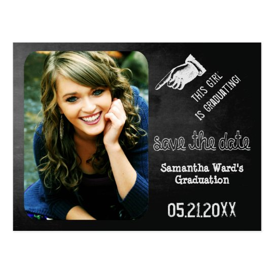 Chalk Vintage Fun Save The Date Graduation Postcard