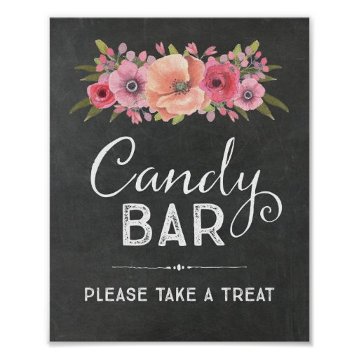 Chalk Watercolor Floral Candy Bar Wedding Sign