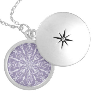 Chalk White Mandala on Lavender Locket Necklace