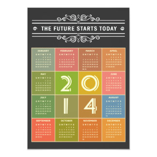 Chalkboard 2014 Calendar - the Future Starts Today 11 Cm X 16 Cm Invitation Card