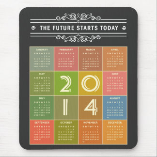 Chalkboard 2014 Calendar - the Future Starts Today Mouse Pad