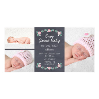 Chalkboard 3 Photo Birth Announcement Photocard Photo Cards