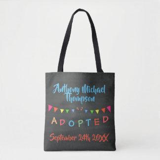 Chalkboard Adopted Banners Design Custom Name-Date Tote Bag