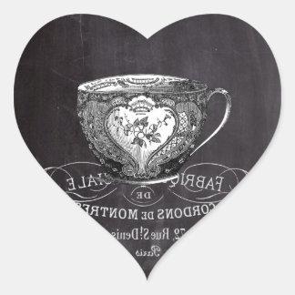 Chalkboard Alice in Wonderland tea party teacup Heart Sticker