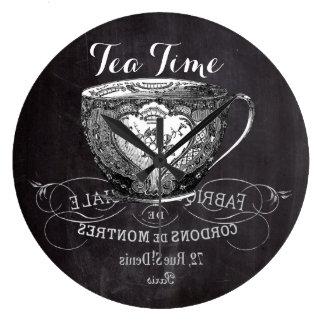 Chalkboard Alice in Wonderland tea party teacup Large Clock