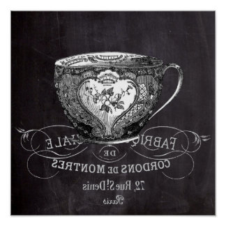 Chalkboard Alice in Wonderland tea party teacup Poster