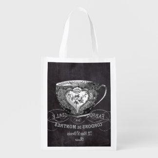 Chalkboard Alice in Wonderland tea party teacup Reusable Grocery Bag