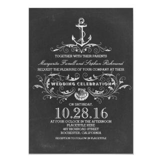 chalkboard anchor beach wedding invitations