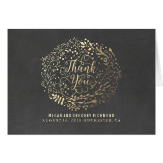 Chalkboard and Gold Floral Wedding Thank You Note Card