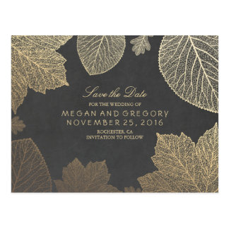 chalkboard and gold leaves fall save the date postcard