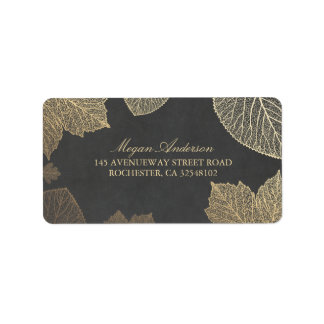 Chalkboard and Gold Leaves Fall Wedding Address Label