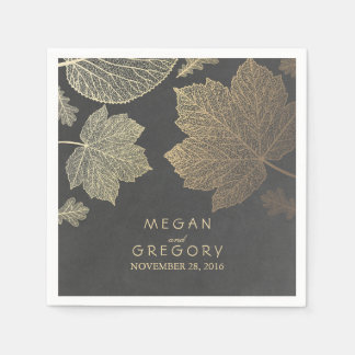Chalkboard and Gold Leaves Fall Wedding Paper Napkin