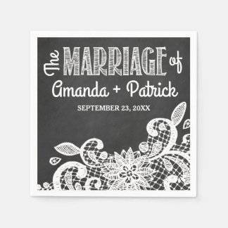 Chalkboard and Lace Country Rustic Wedding Napkins Disposable Napkin