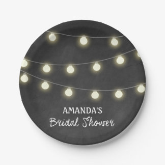 Chalkboard and Lights Bridal Shower Party Plates