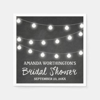 Chalkboard and Lights Rustic Bridal Shower Napkins Disposable Serviettes
