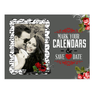 Chalkboard and Roses Photo Save the Date Postcard