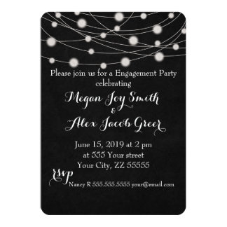 Chalkboard and String Lights Engagement Party 13 Cm X 18 Cm Invitation Card