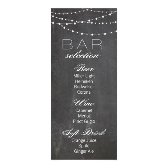 Chalkboard and string lights Wedding Bar Menu Card