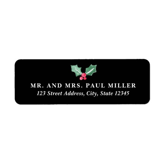 Chalkboard and Watercolor Holly Return Address