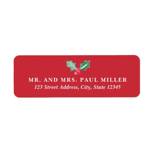 Chalkboard and Watercolor Holly Return Address Red