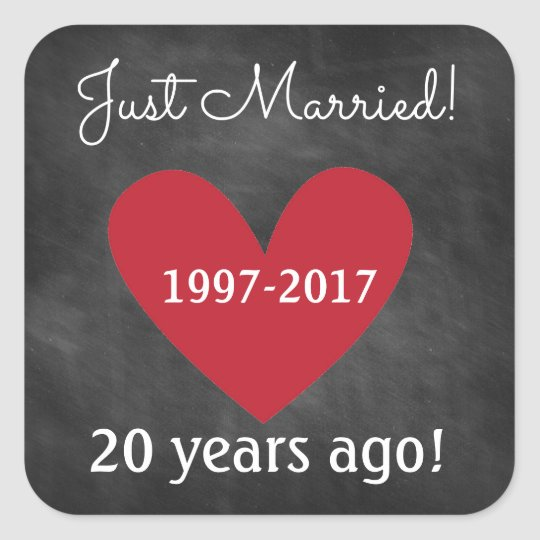 Chalkboard Anniversary Stickers | Just Married...