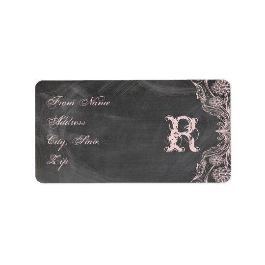 Chalkboard Antique Pink Floral Monogram Address Address Label