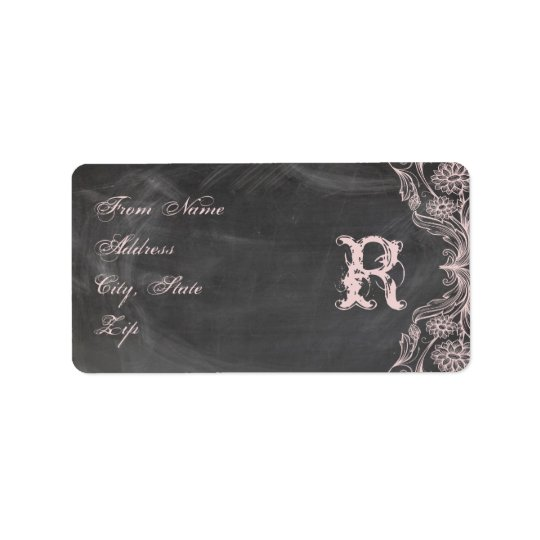 Chalkboard Antique Pink Floral Monogram Address Label