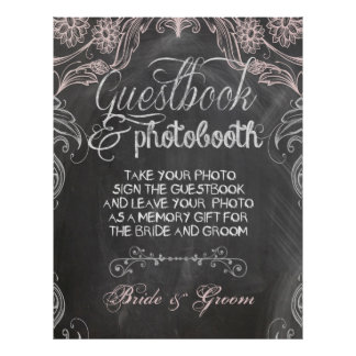 Chalkboard Antique Pink Wedding Photo Booth Poster