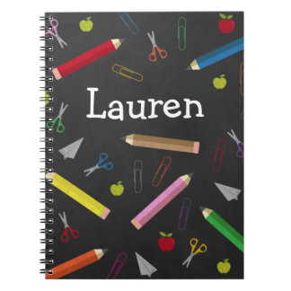 Chalkboard Apple Rainbow Pencil Crayons Paper Clip Notebooks